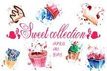 Set watercolor sugary cupcakes