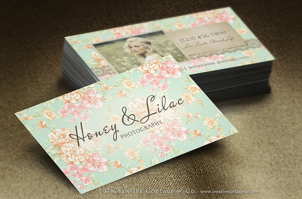 Vintage Floral Business Card PSD ~ Business Card Templates ...