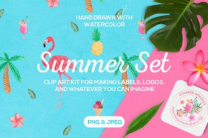 Tropical Summer Clip Art Set