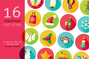 Merry Christmas Vector Flat Icons