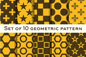 Set of 10 geometric patterns