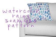 watercolor rainy seamless pattern