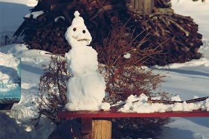 Funny snowman outdoors