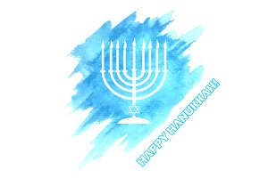 Menorah On Blue Watercolor