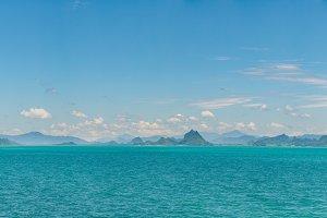 Panorama mountains, sea and sky