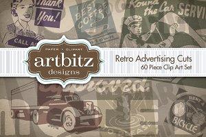 60 Retro Advertising Cuts Clip Art