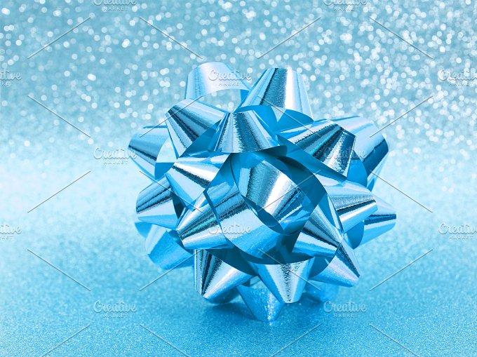 Blue ribbon bow. Holidays - Holidays