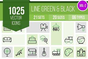 1025 Line Green & Black Icons (V2)