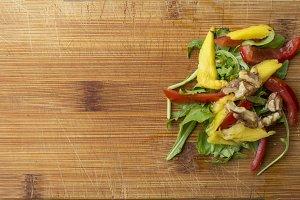 Salad on wood