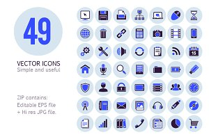 49 Vector Media Icons