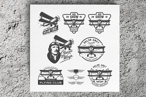 Biplane logos and design elements