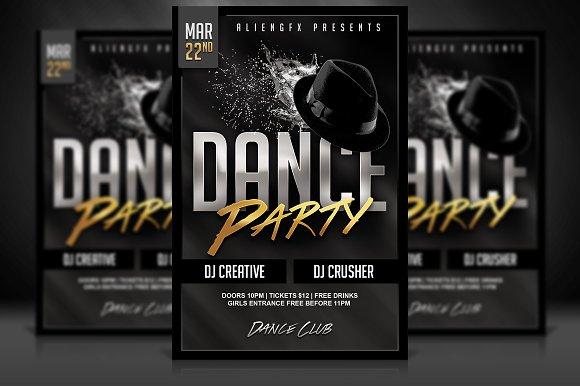 dance party flyer flyer templates creative market