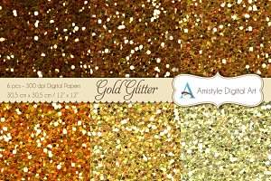 Glitter Gold-Digital Papers