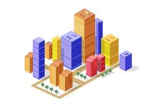 Business isometric city