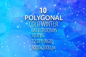 10 Polygonal Cold Winter Backgrounds