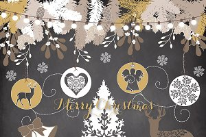 Vector Vintage Christmas cliparts