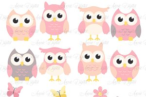 Pink and Grey Owl Cliparts - Vectors