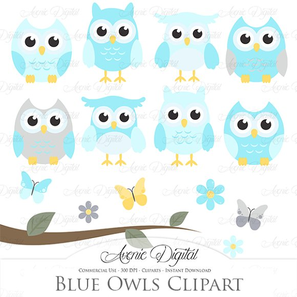 Blue and Grey Owl Cliparts - Vectors ~ Illustrations on ...