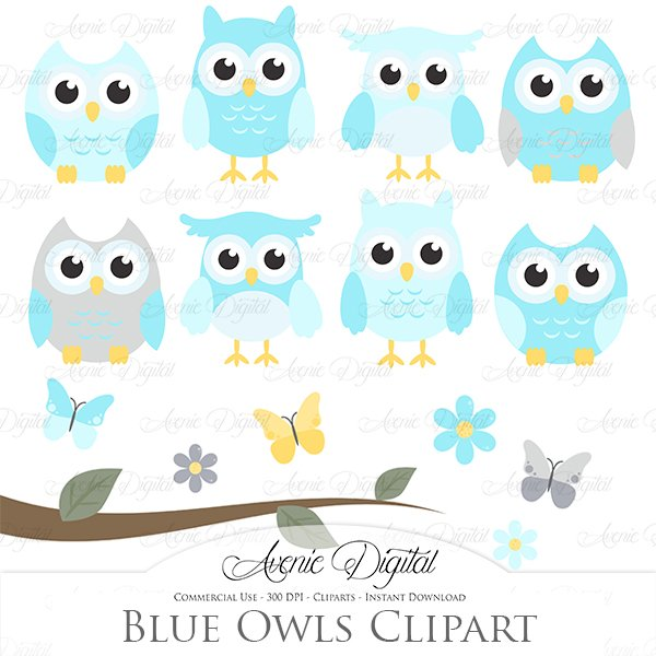 cover letter it example blue and grey owl cliparts vectors illustrations 21126 | blue owl clipart by avenie digital prw
