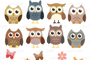 Woodland Owls Clipart and Vectors