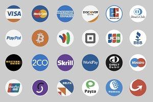 Flat Circular Payment Icons