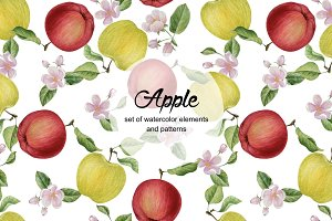 Set of watercolor apple