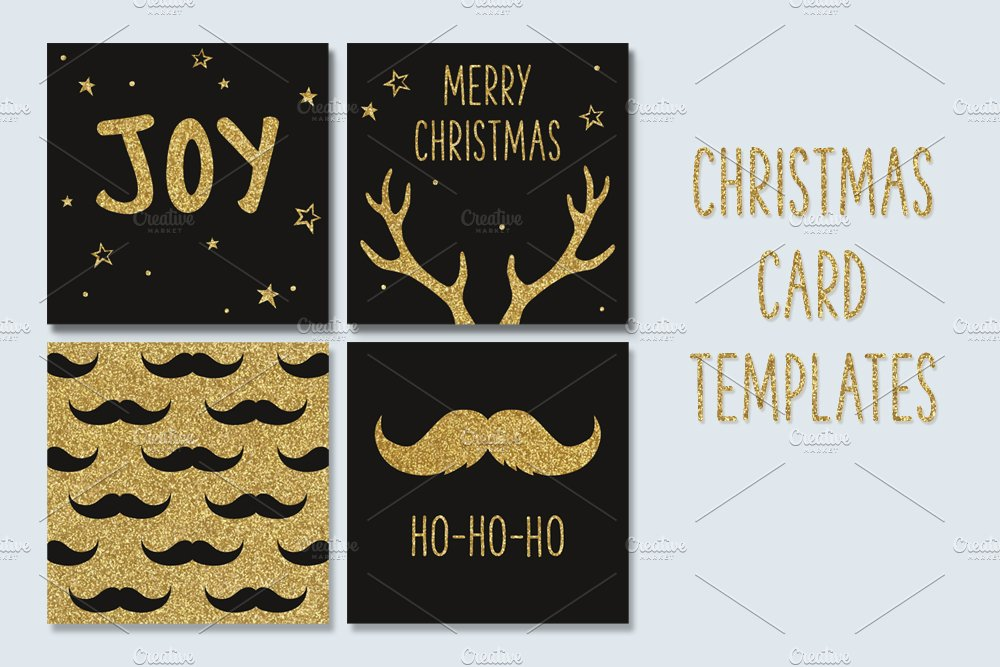 Hipster Christmas greeting cards ~ Card Templates ~ Creative Market
