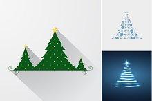Christmas trees set.