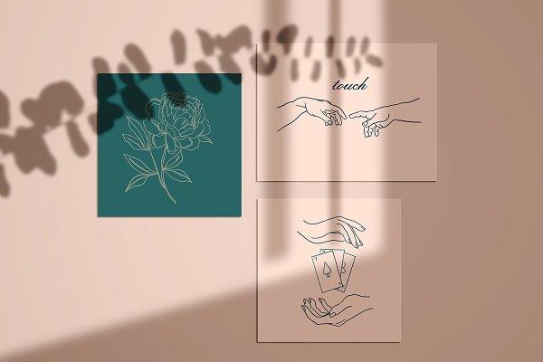 Hands+Graphic line art illustration