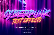Cyberpunk 80s Text Effects by  in Photoshop Add-Ons