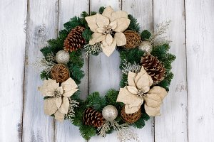 White Poinsettia Flower Wreath