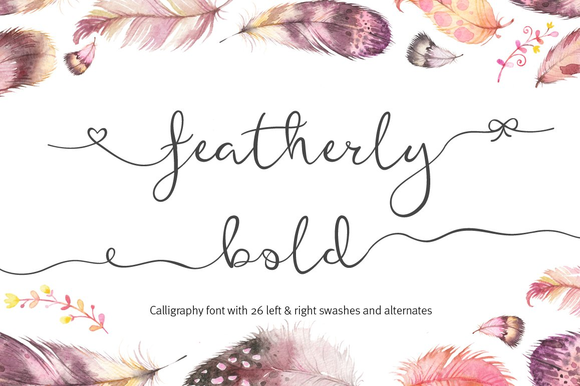Featherly Bold Wedding Swash Font Script Fonts Creative Market