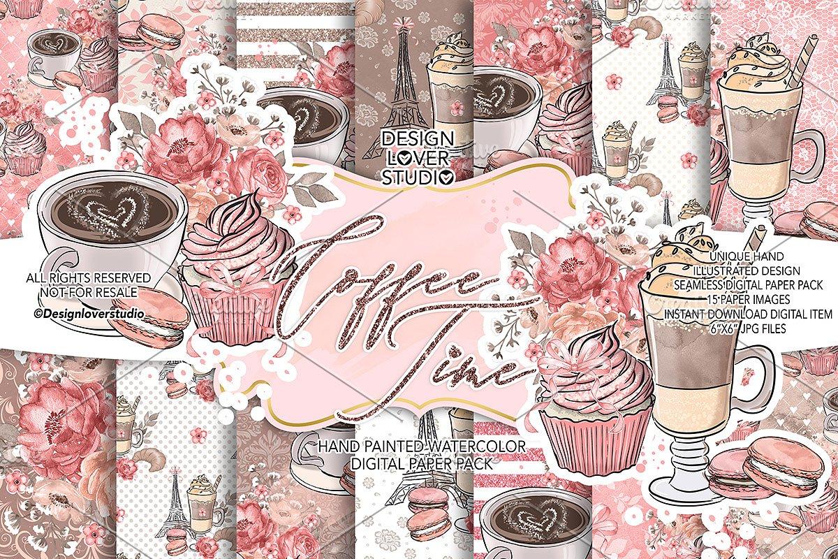 Coffee time digital paper pack