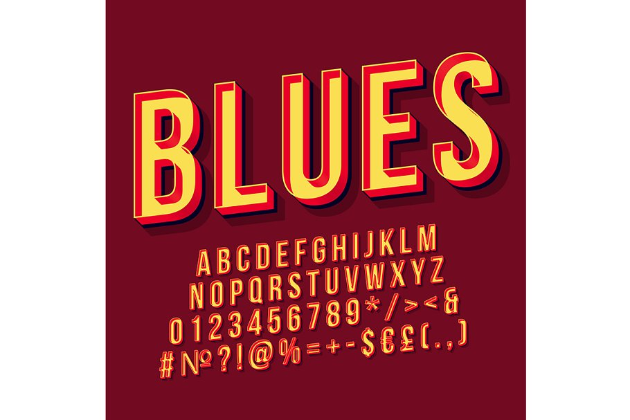 Blues vintage 3d vector lettering