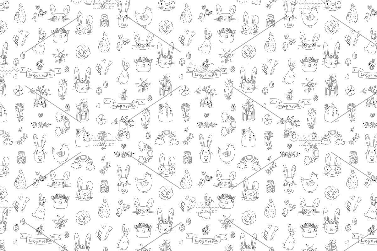 Easter Doodle Repeating Pattern