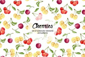 Set of watercolor cherries
