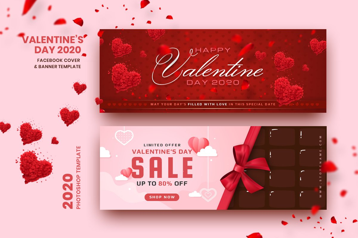 Valentine FB Cover & Banner Template