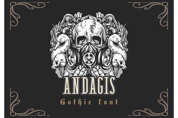 Best Andagis Gothic Font Vector