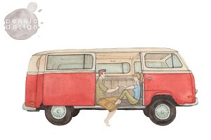 Couple Retro Volkswagen Watercolor