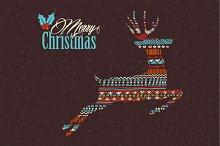Christmas boho pattern deer