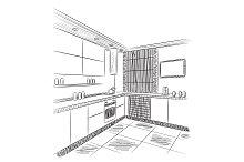 Kitchen interior sketch