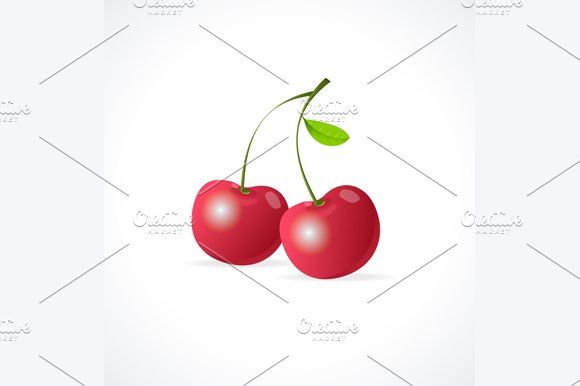 Ripe Red Cherry Berries. Vector - Objects