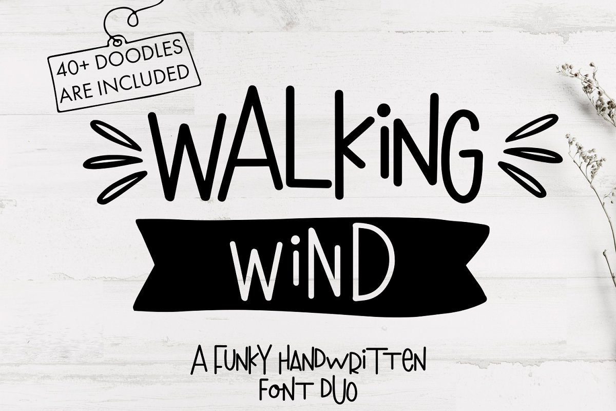 Walking Wind -A funky font + Doodles
