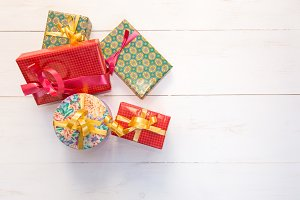 Gift boxes with colored paper