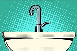 sink washing with faucet water