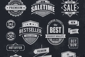 Chalk Drawn Vector Badges