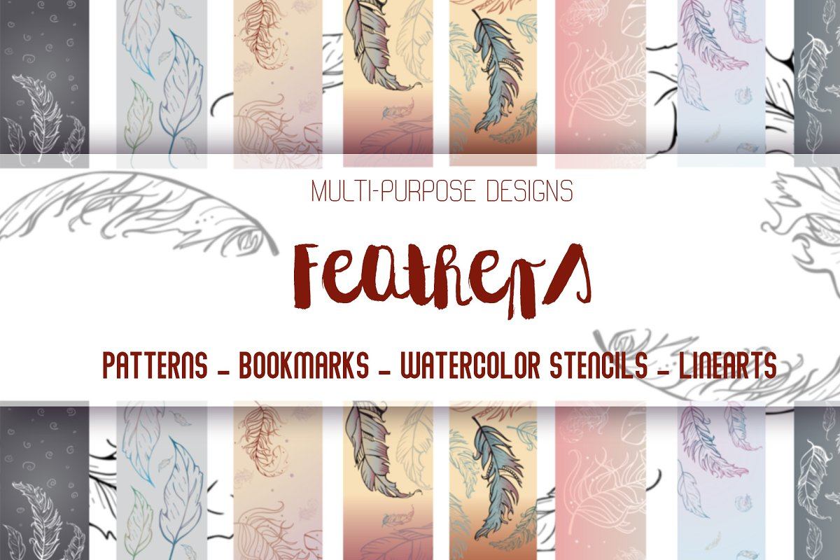 Feather pattern bookmark stencil