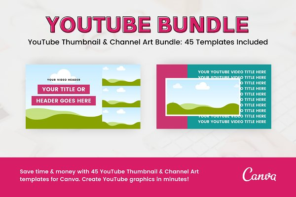 YouTube Template Bundle for Canva