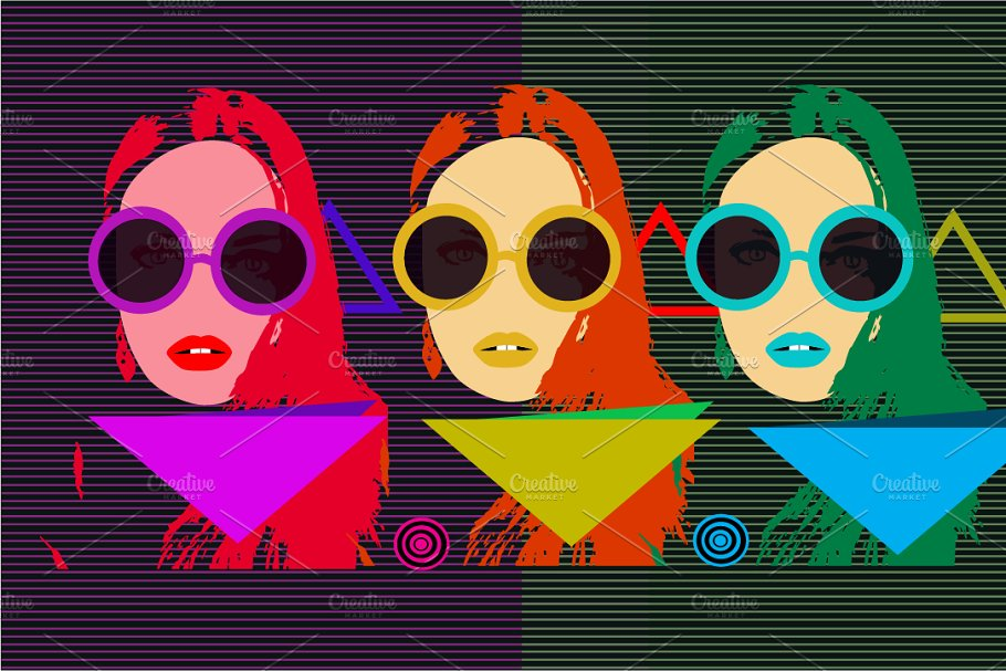 Retro pop art background with girls