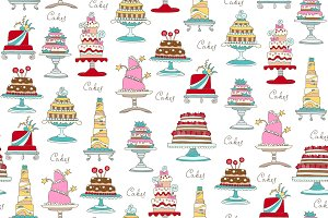 Pattern with hand drawn cakes